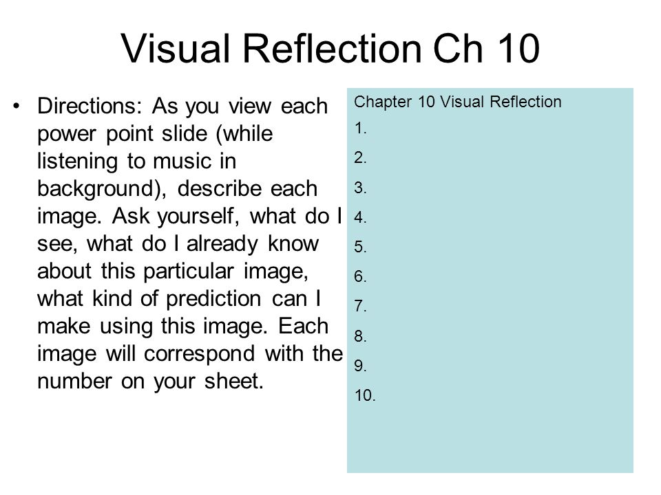 Visual Reflection Ch 10