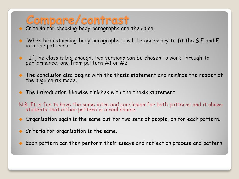 Compare/contrast Criteria for choosing body paragraphs are the same.
