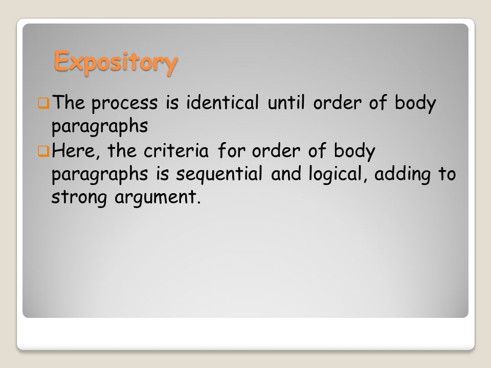 Expository The process is identical until order of body paragraphs