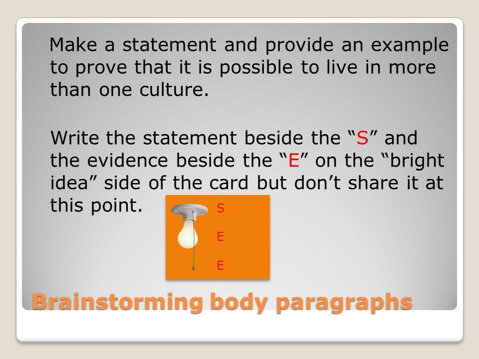 Brainstorming body paragraphs