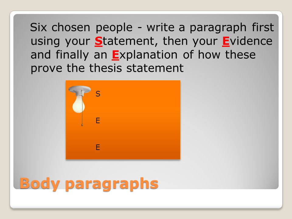 Six chosen people - write a paragraph first using your Statement, then your Evidence and finally an Explanation of how these prove the thesis statement