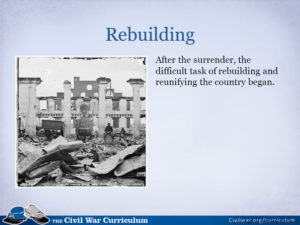 Rebuilding After the surrender, the difficult task of rebuilding and reunifying the country began. Image information: