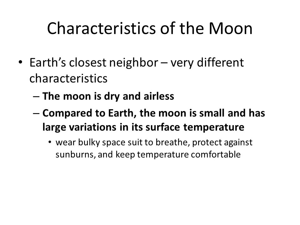 Characteristics of the Moon