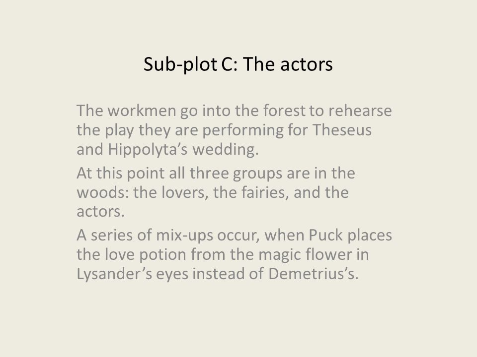 Sub-plot C: The actors The workmen go into the forest to rehearse the play they are performing for Theseus and Hippolyta's wedding.