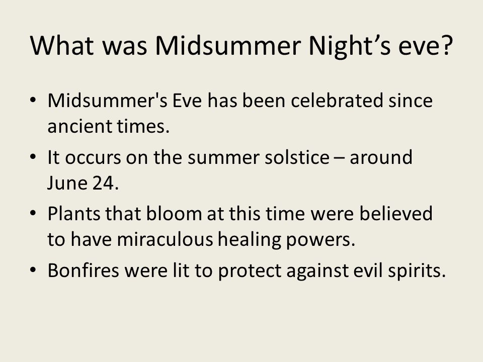 What was Midsummer Night's eve