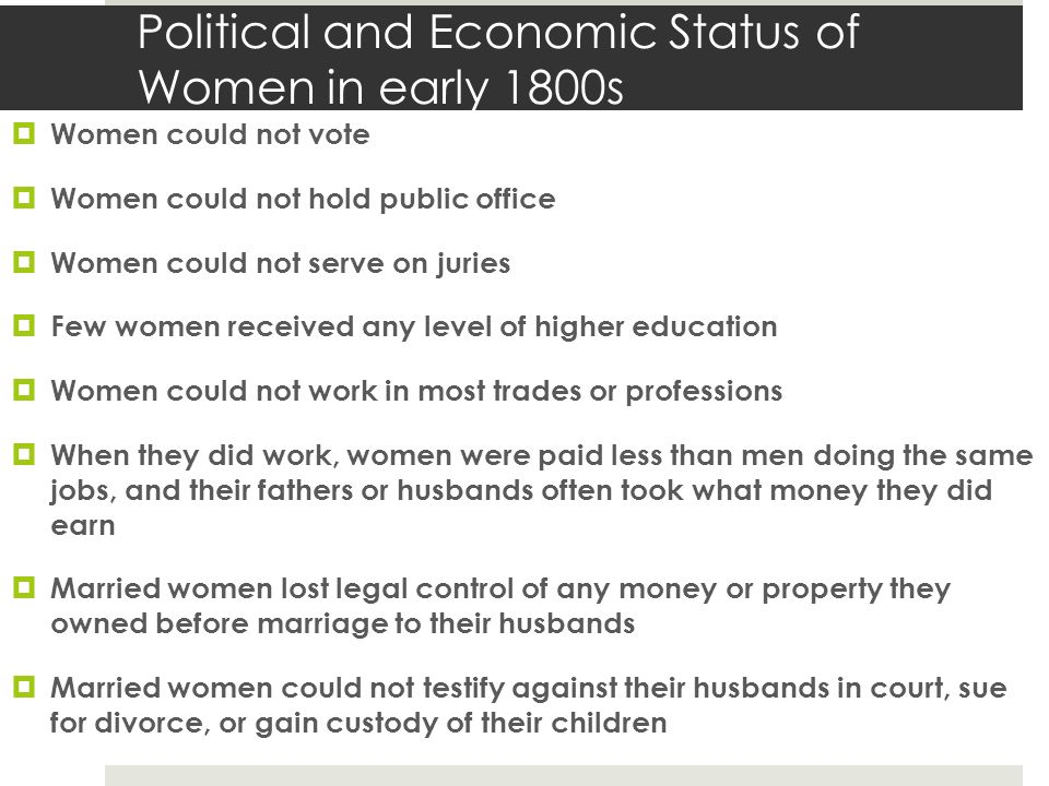 Political and Economic Status of Women in early 1800s