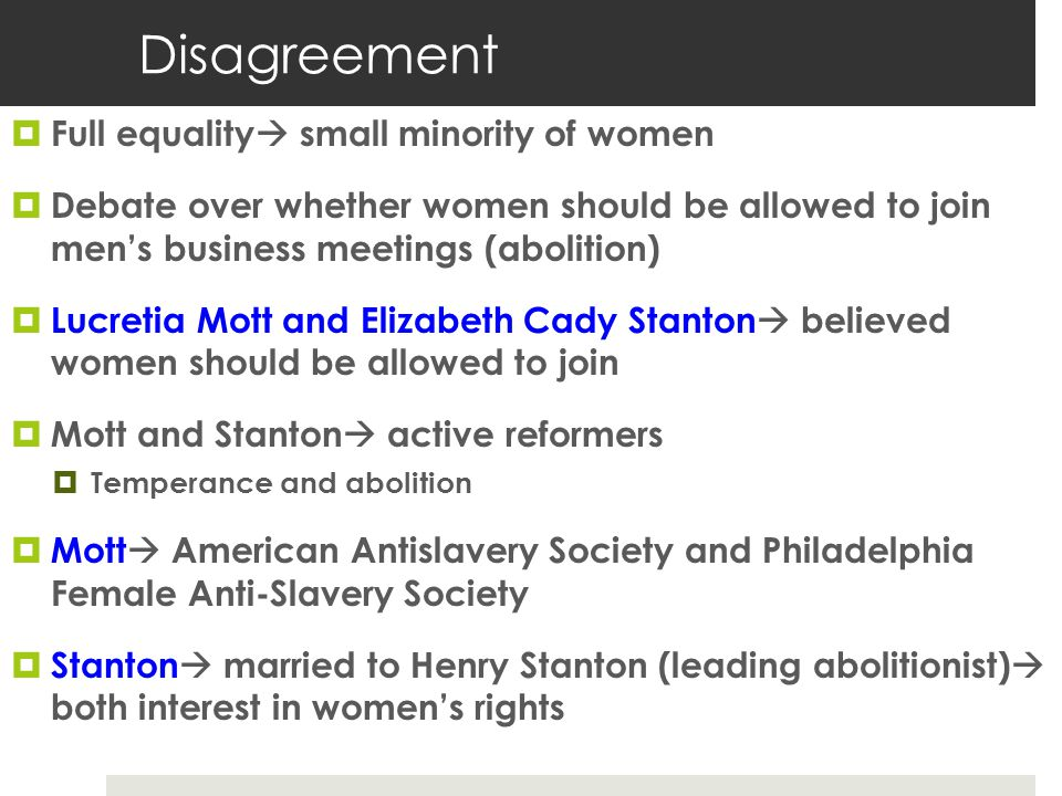 Disagreement Full equality small minority of women