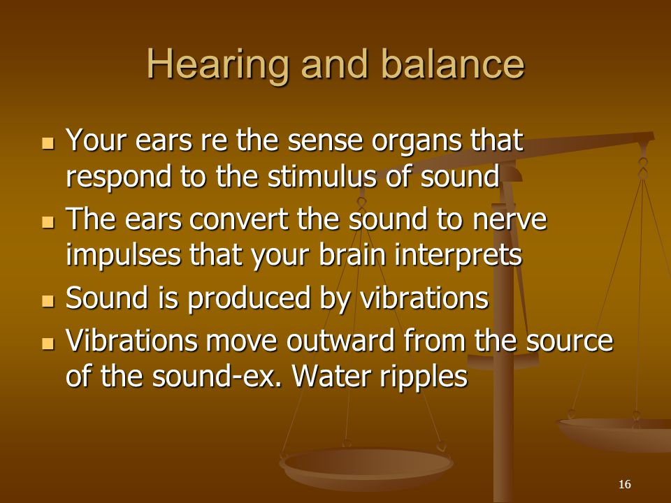 Hearing and balance Your ears re the sense organs that respond to the stimulus of sound.