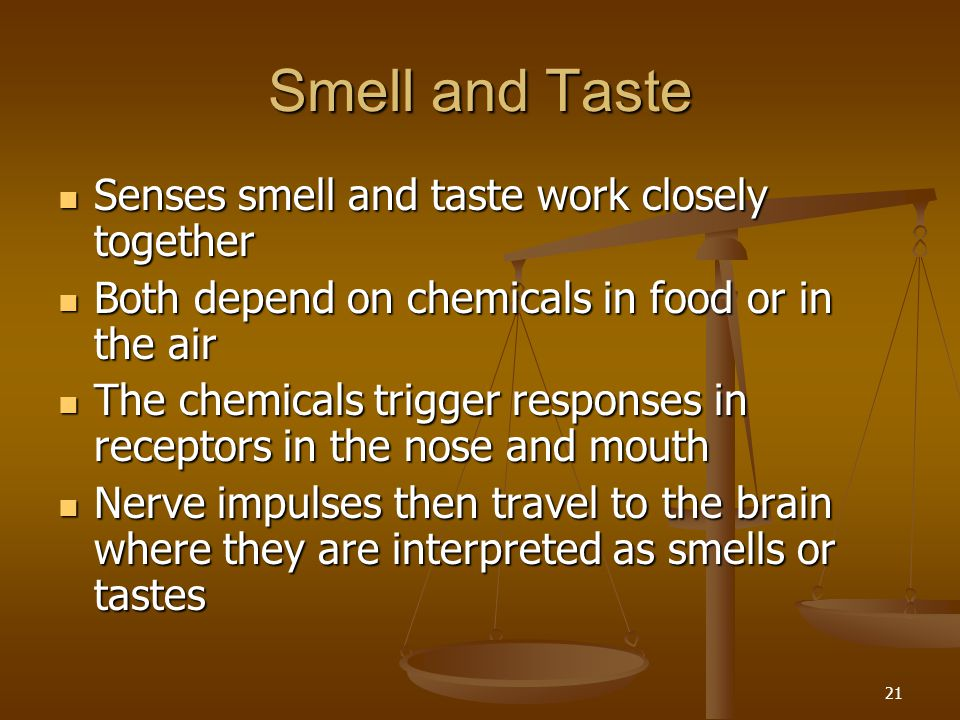 Smell and Taste Senses smell and taste work closely together