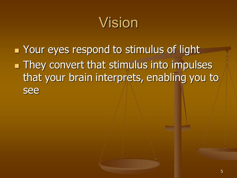 Vision Your eyes respond to stimulus of light