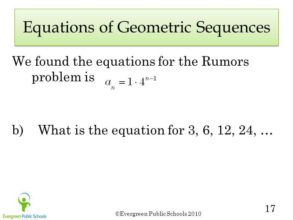 Equations of Geometric Sequences