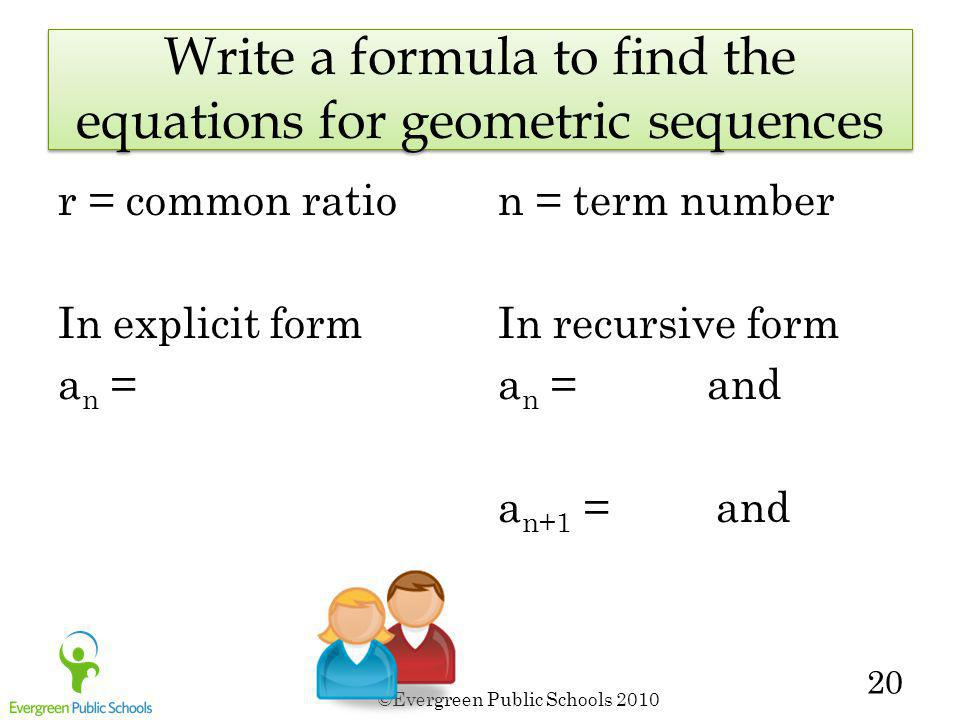 Write a formula to find the equations for geometric sequences