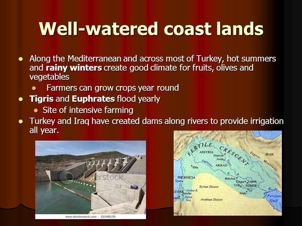 Well-watered coast lands