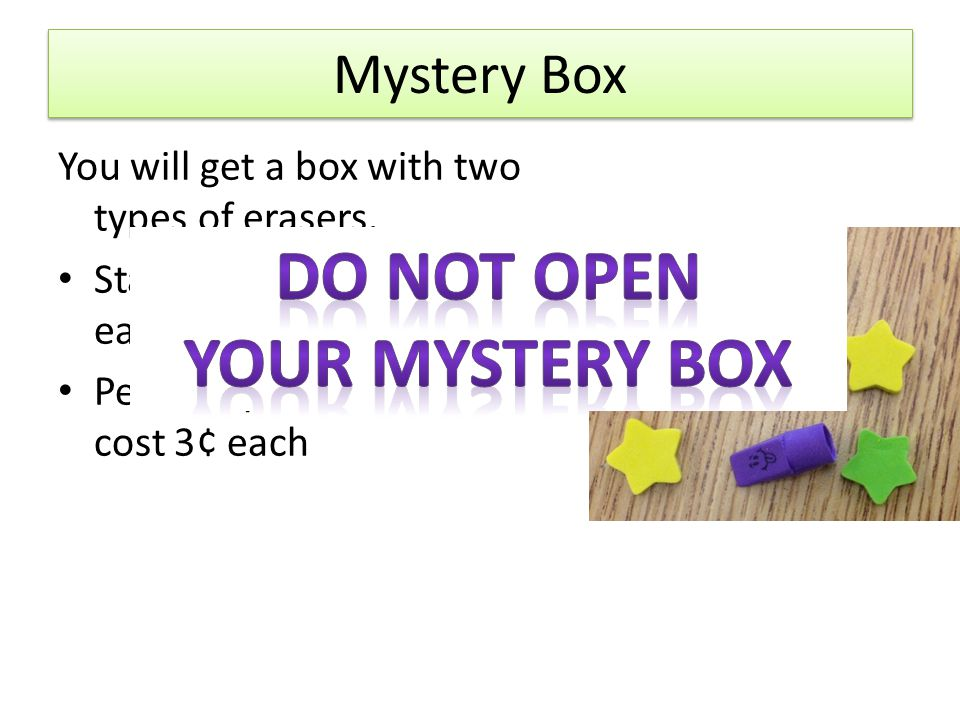 Do not open Your mystery box