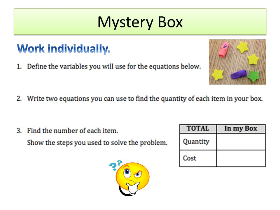 Mystery Box Work individually. x = number of star erasers