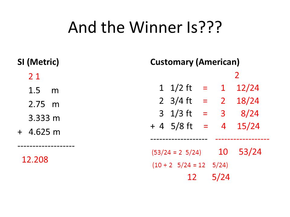 And the Winner Is SI (Metric) Customary (American)