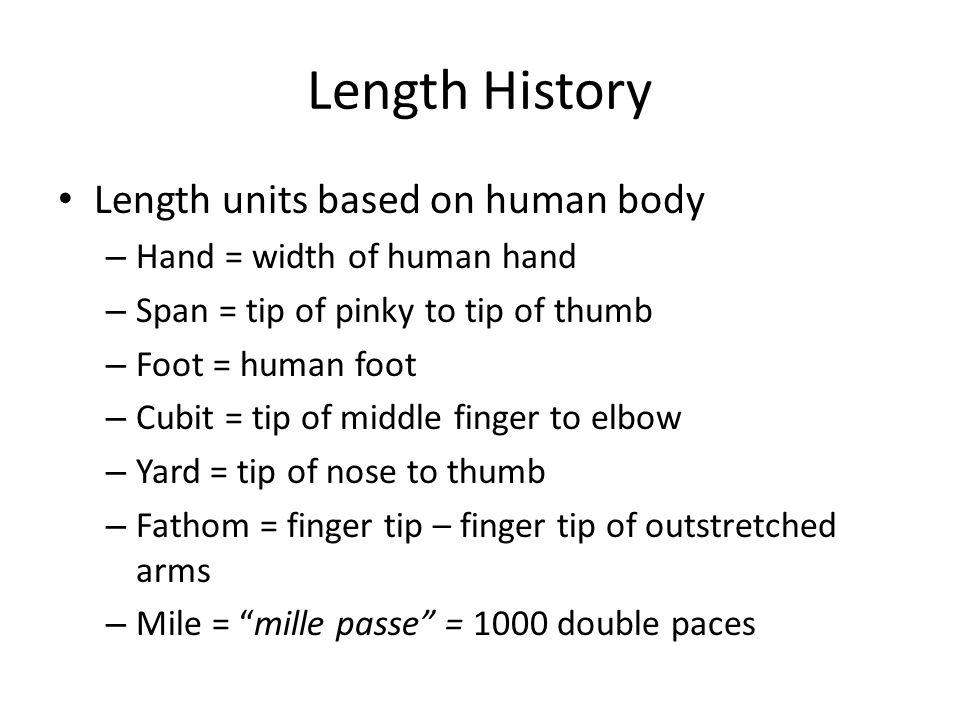 Length History Length units based on human body