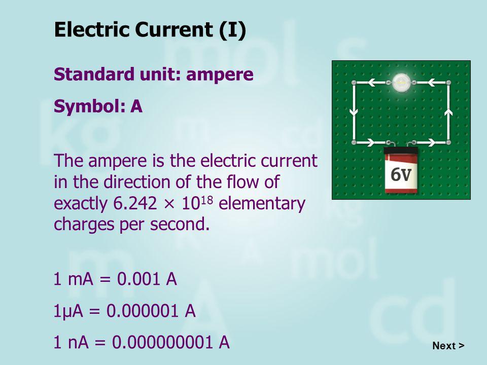 Electric Current (I) Standard unit: ampere Symbol: A