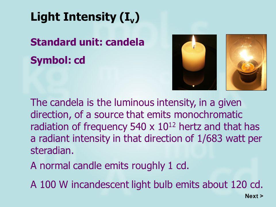 Light Intensity (Iv) Standard unit: candela Symbol: cd