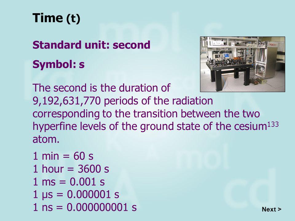 Time (t) Standard unit: second Symbol: s