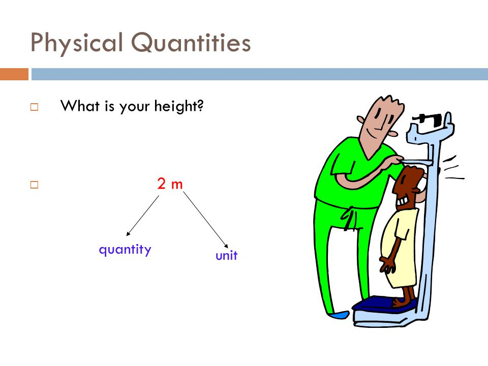 Physical Quantities What is your height 2 m quantity unit