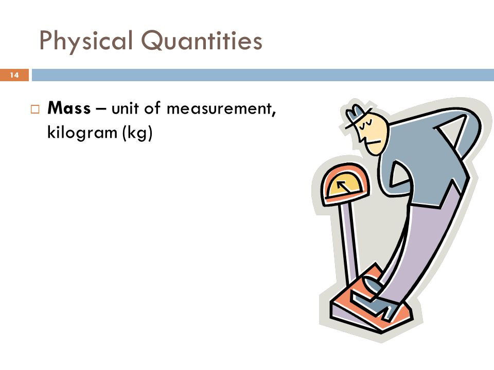 Physical Quantities Mass – unit of measurement, kilogram (kg)