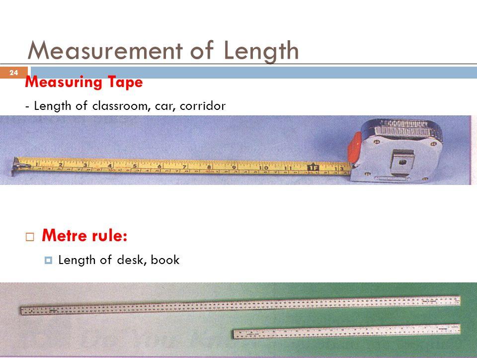 Measurement of Length Metre rule: Measuring Tape