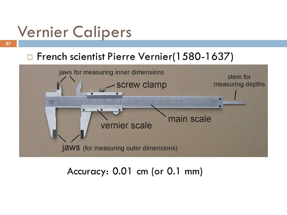 Vernier Calipers French scientist Pierre Vernier(1580-1637)
