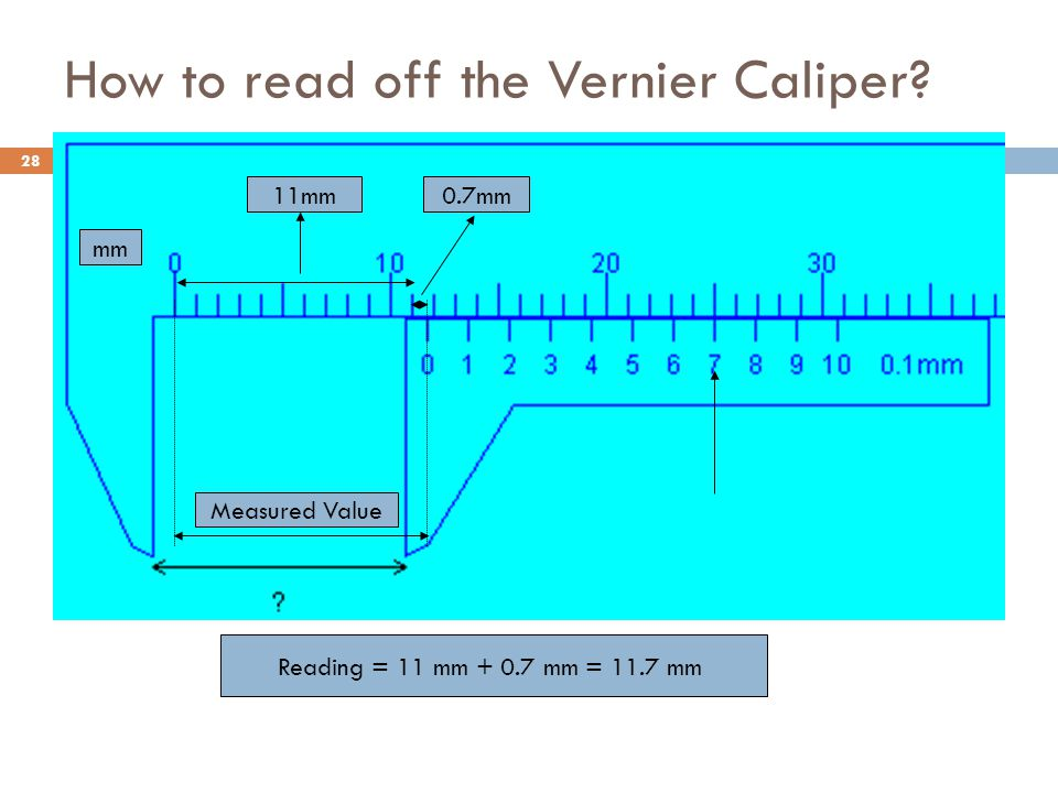 How to read off the Vernier Caliper