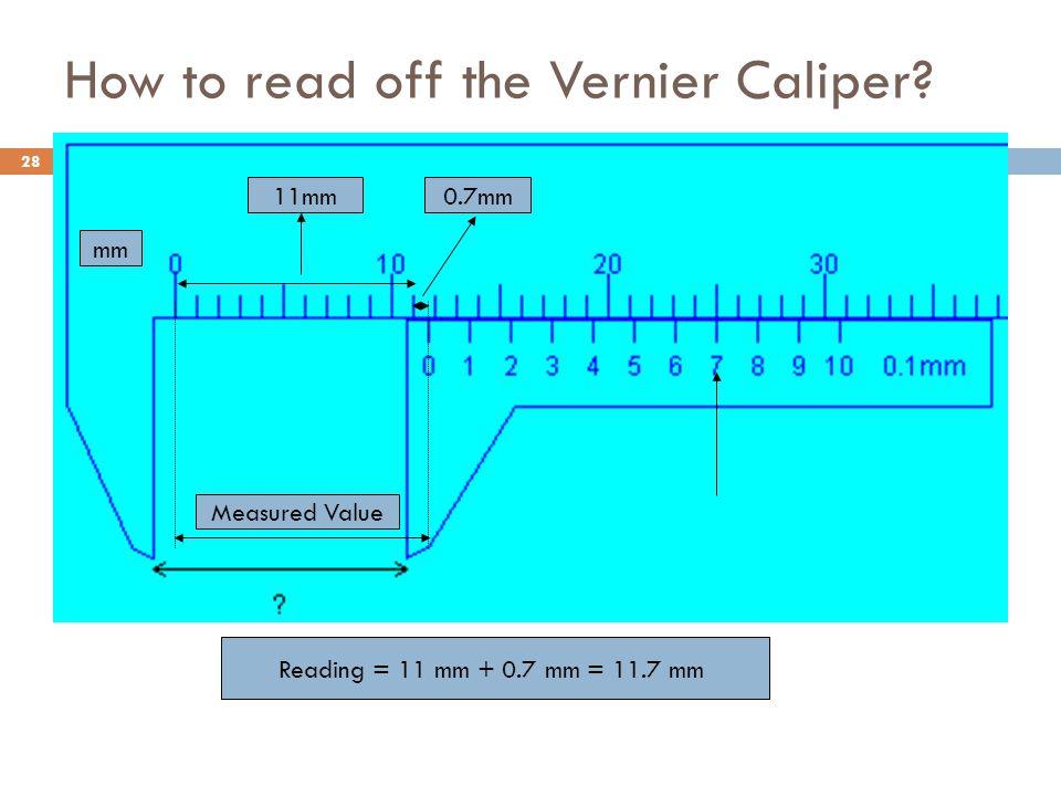 How to read off the Vernier Caliper