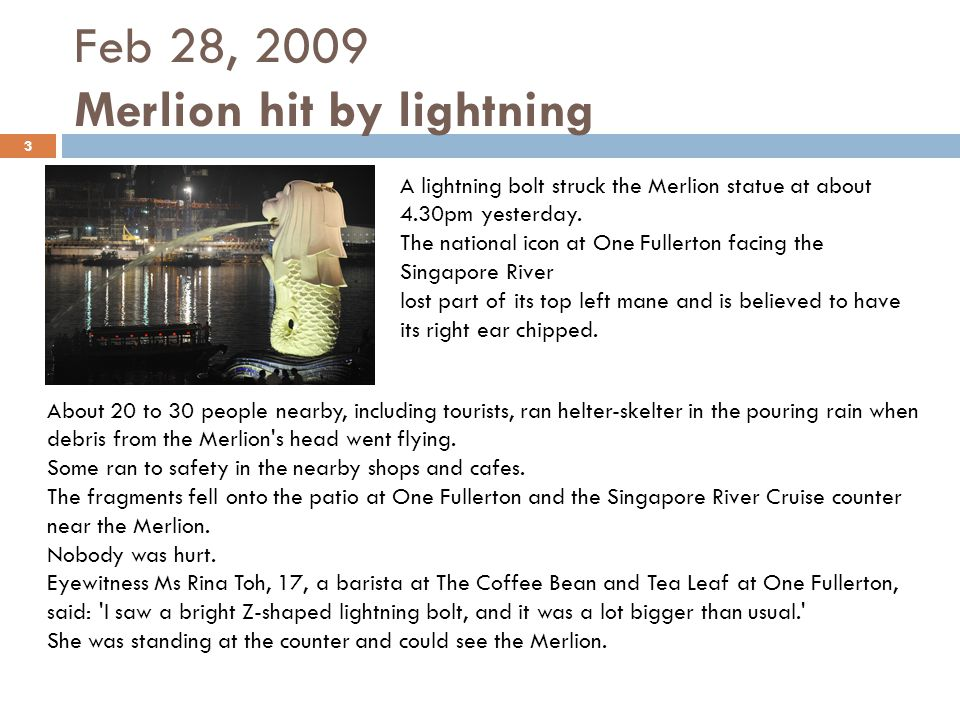 Feb 28, 2009 Merlion hit by lightning
