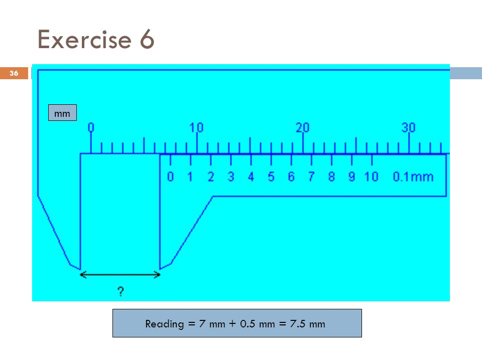 Exercise 6 mm Reading = 7 mm + 0.5 mm = 7.5 mm