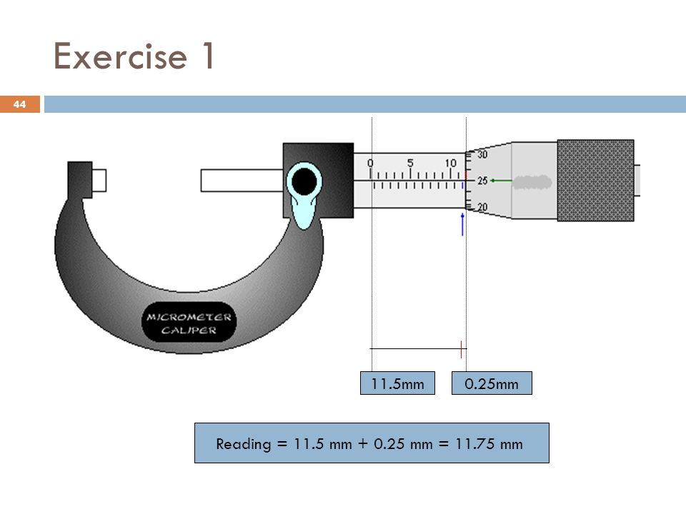 Exercise 1 11.5mm 0.25mm Reading = 11.5 mm + 0.25 mm = 11.75 mm
