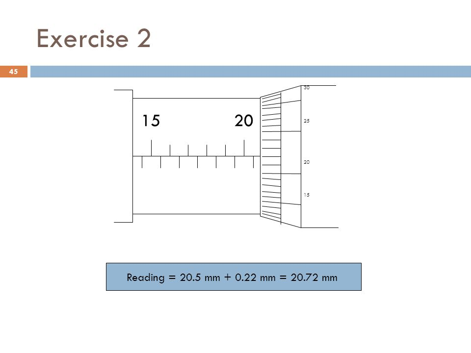 Exercise 2 15 20 30 25 Reading = 20.5 mm + 0.22 mm = 20.72 mm