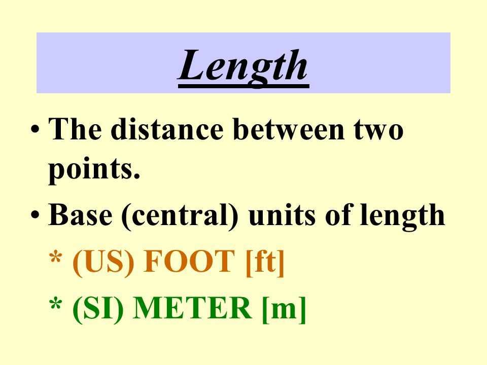 Length The distance between two points. Base (central) units of length