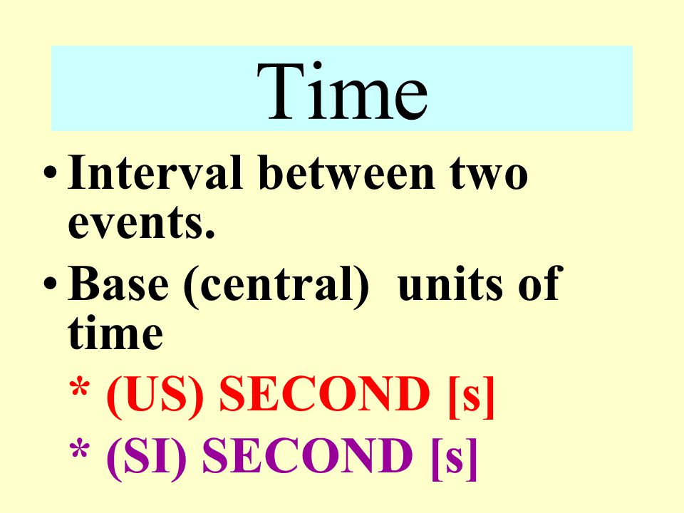 Time Interval between two events. Base (central) units of time