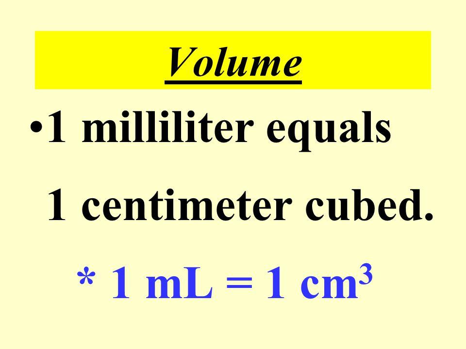 Volume 1 milliliter equals 1 centimeter cubed. * 1 mL = 1 cm3