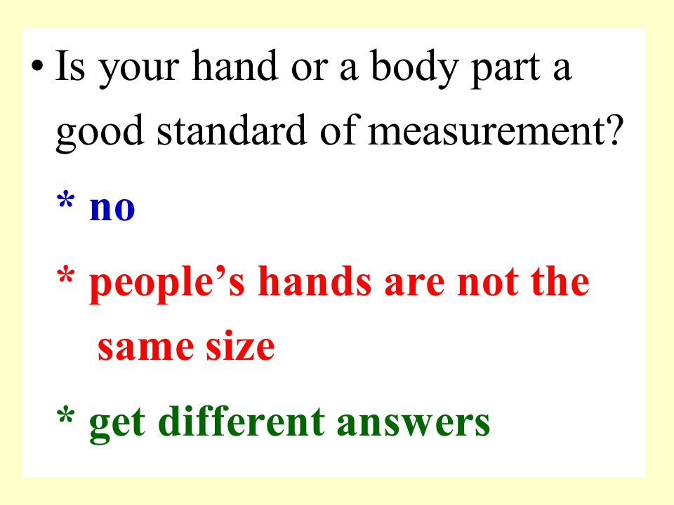 Is your hand or a body part a good standard of measurement