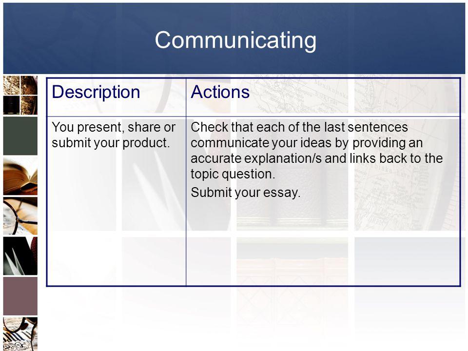 Communicating Description Actions