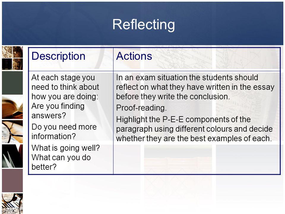 Reflecting Description Actions