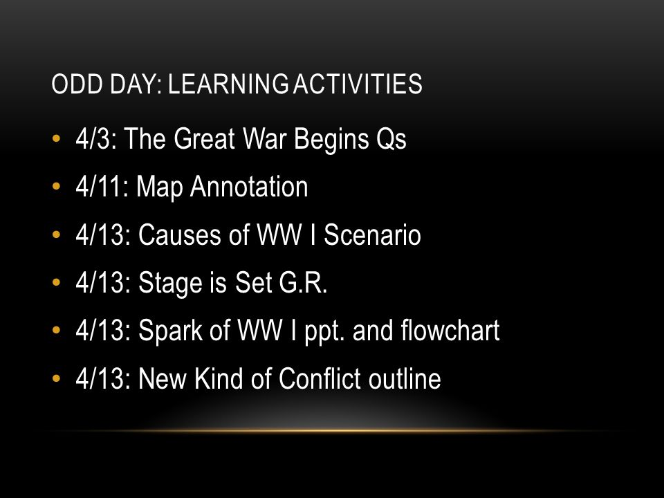 Odd Day: Learning Activities