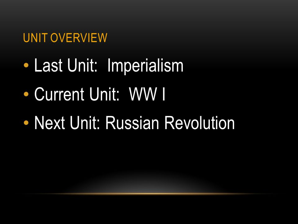 Last Unit: Imperialism Current Unit: WW I
