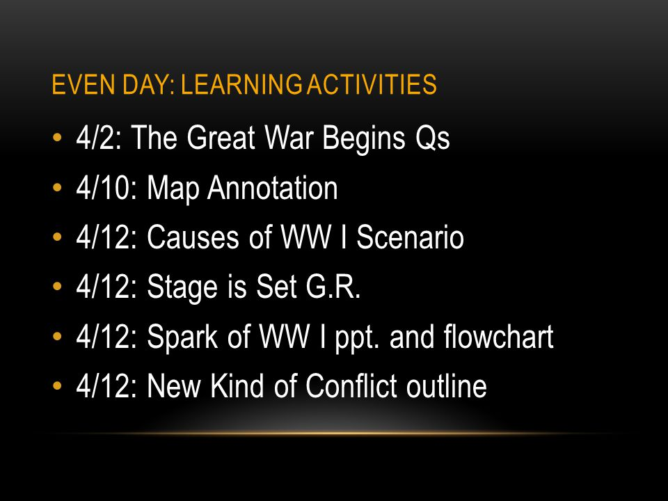 Even Day: Learning Activities