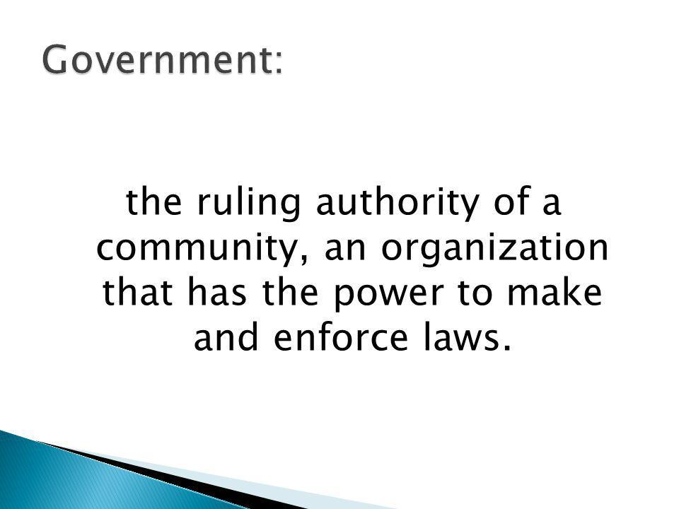 Government: the ruling authority of a community, an organization that has the power to make and enforce laws.