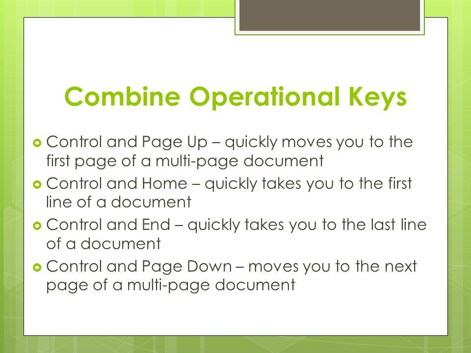 Combine Operational Keys