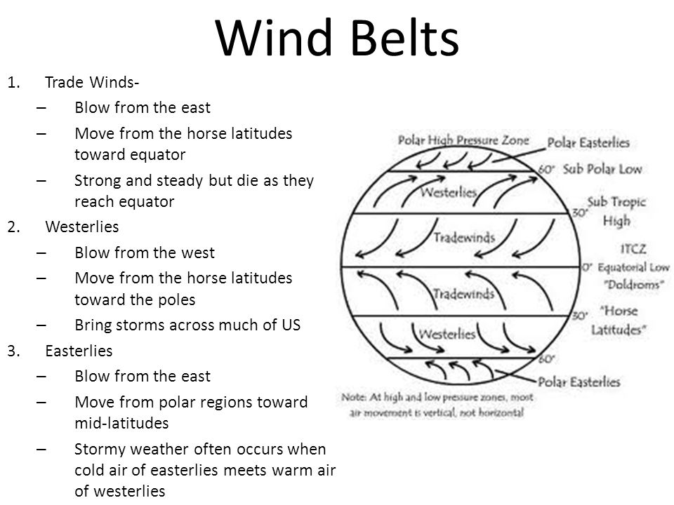 wind belts: trade winds, westerlies, easterlies