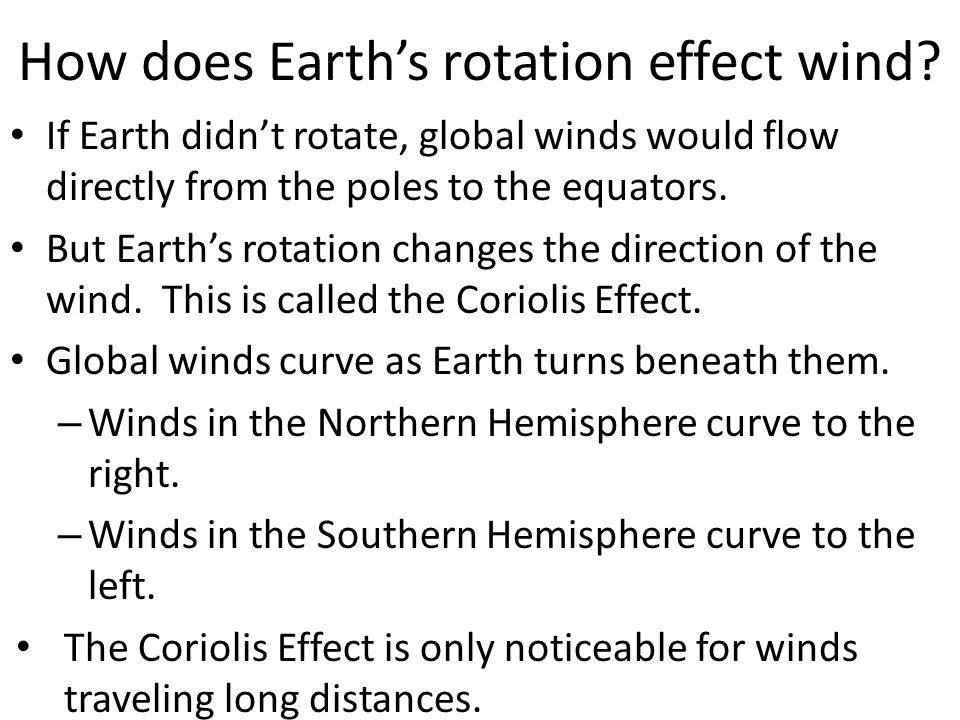 How does Earth's rotation effect wind