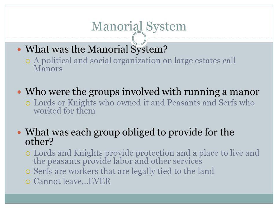 Manorial System What was the Manorial System