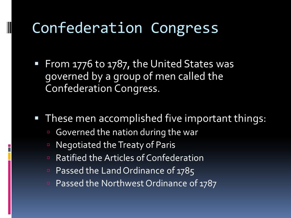 an analysis of the articles of confederation in the united states congress The articles of confederation was the united states' first constitution proposed by the continental congress in 1777, it was not ratified until 1781 the articles represented a victory for those who favored state sovereignty.