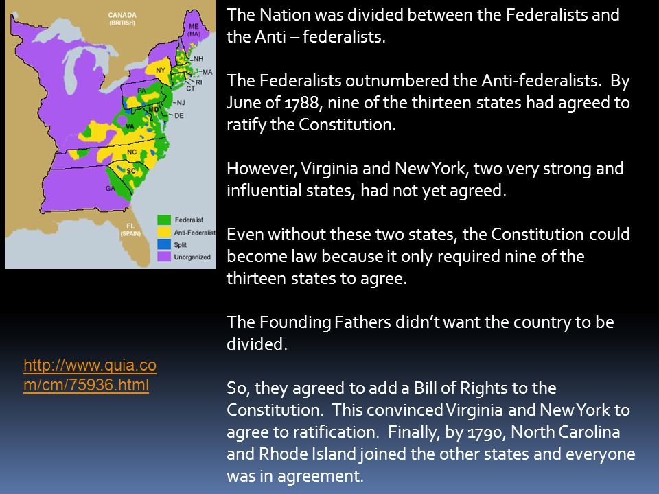The Founding Fathers didn't want the country to be divided.